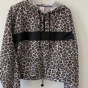 Leopard Print Half Zip Windbreaker